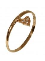 Δαχτυλίδι ροζ gold με κρεμαστό καρδιά K14 D016682 D016682