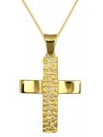 Χρυσός ανάγλυφος σταυρός με ζιργκόν και αλυσίδα D016725C D016725C