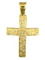 Γυναικείος ανάγλυφος σταυρός Κ14 με ζιργκόν D016727 D016727