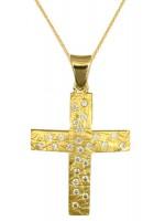 Γυναικείος ανάγλυφος σταυρός από χρυσό Κ14 με αλυσίδα D016727C D016727C