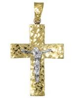Δίχρωμος ανδρικός σταυρός 14 καρατίων D017379 D017379
