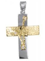 Γυναικείος δίχρωμος σταυρός 14 καρατίων D017387 D017387