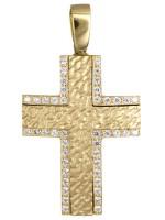 Χρυσός ανάγλυφος σταυρός με ζιργκόν 14 καρατίων D017569 D017569