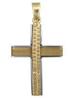 Δίχρωμος σταυρός βάπτισης για αγόρι με σύρμα D017607 D017607