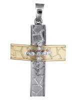 Γυναικείος σταυρός δίχρωμος 14Κ D017858 D017858