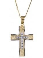 Σταυρός Γυναικείος δίχρωμος με καδένα 14Κ DC017898 D017898C