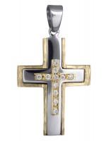 Σταυρός Γυναικείος δίχρωμος 14Κ D017929 D017929