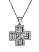 Σταυρός Γυναικείος Λευκόχρυσος με καδένα 9Κ DC018165 D018165C