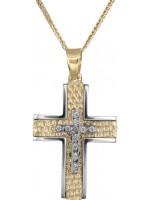 Γυναικείος σταυρός δίχρωμος με καδένα 14Κ DC018245 D018245C