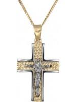 Σταυρός ανδρικός με τον Εσταυρωμένο με καδένα Κ14 DC018246 D018246C