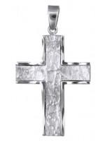 Λευκόχρυσος ανάγλυφος σταυρός Κ14 D018146 D018146