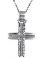 Λευκόχρυσος γυναικείος σταυρός με καδένα 14Κ D019301C D019301C
