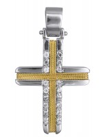Γυναικείος σταυρός δίχρωμος Κ14 D019302 D019302
