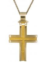 Σταυρός Κ14 χρυσός με καδένα D019311C D019311C