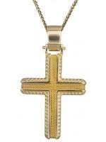 Χρυσός Κ14 σταυρός με καδένα και σύρμα D019318C D019318C