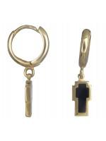 Χρυσά σκουλαρίκια με σταυρουδάκι διπλής όψης Κ14 D019855 D019855
