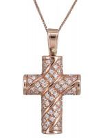 Ροζ χρυσός σταυρός με πέτρες Κ14 DC020129 D020129C