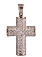 Ροζ χρυσός σταυρός με πέτρες 14Κ D020131 D020131