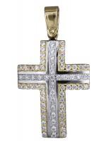Γυναικείος σταυρός δίχρωμος 14Κ D020140 D020140