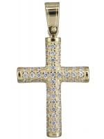 Χρυσός πετράτος σταυρός για κορίτσι Κ14 D020146 D020146