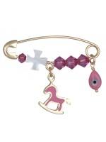 Χρυσή παραμάνα 9 Καρατίων ροζ αλογάκι με σταυρό D020249 D020249