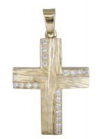 Γυναικείος σκαλιστός σταυρός από χρυσό Κ14 D020602 D020602