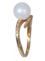 Χρυσό δαχτυλίδι Κ18 με μαργαριτάρι και μπριγιάν D020889 D020889