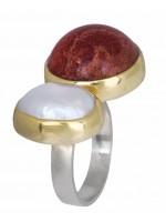 Δίχρωμο δαχτυλίδι 925 με μαργαριτάρι και κοράλλι D020908 D020908