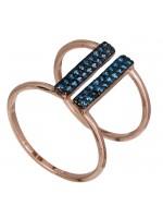 Ροζ επίχρυσο διπλό δαχτυλίδι 925 με μπλε ζιργκόν D021143 D021143