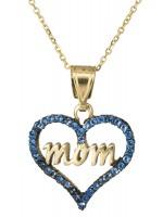 Χρυσό κολιέ μπλε καρδούλα mom 14 Καρατίων DC021672 D021672C