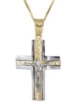Δίχρωμος βαπτιστικός σταυρός για αγόρι Κ14 D021840C D021840C