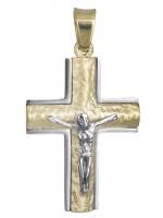 Δίχρωμος σταυρός Κ14 με τον Εσταυρωμένο D021841 D021841