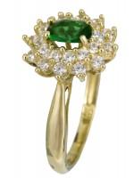Χρυσό δαχτυλίδι ροζέτα 14Κ με σμαραγδί ζιργκόν D021957 D021957