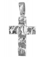 Λευκόχρυσος ανάγλυφος σταυρός 14 καρατίων D021994 D021994