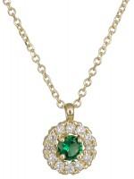 Χρυσό κολιέ 14 Kαρατίων ροζέτα με πράσινη πέτρα D022006 D022006