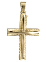 Χρυσός ανδρικός σταυρός 14Κ ανάγλυφος D022042 D022042