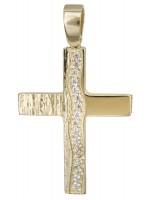 Χρυσός σταυρός για κορίτσι Κ14 με ζιργκόν D022133 D022133