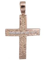 Ανάγλυφος ροζ χρυσός σταυρός Κ14 D022152 D022152