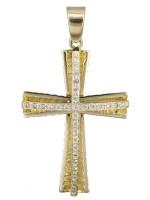 Χειροποίητος χρυσός σταυρός με πέτρες Κ14 D022406 D022406
