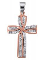 Ροζ gold γυναικείος σταυρός Κ14 D022806 D022806
