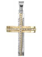 Γυναικείος δίχρωμος σταυρός 14 καρατίων D022871 D022871