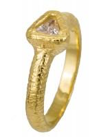 Ανάγλυφο επίχρυσο δαχτυλίδι 925 με τρίγωνο D022914 D022914