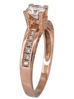 Ροζ gold μονόπετρο δαχτυλίδι Κ14 με ζιργκόν D023089 D023089