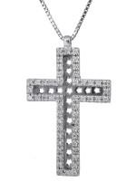 Λευκόχρυσος σταυρός με brilliant 18Κ D023244 D023244