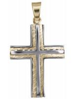 Ανδρικός ανάγλυφος σταυρός δίχρωμος 14 Καρατίων D023254 D023254