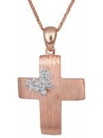 Ροζ χρυσός σταυρός με πεταλούδα Κ14 D023497C D023497C