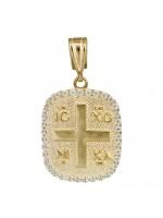 Χρυσό Κωνσταντινάτο οβάλ 14 Καρατίων με ζιργκόν D023847 D023847