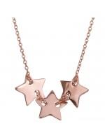 Ροζ χρυσό κολιέ τρία λουστρέ αστεράκια Κ14 D024320 D024320