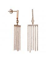 Ροζ gold σκουλαρίκια Κ14 με πετράτες μπάρες και αλυσιδίτσες D024449 D024449