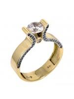 Πρωτότυπο μονόπετρο δαχτυλίδι χρυσό Κ14 D024758 D024758